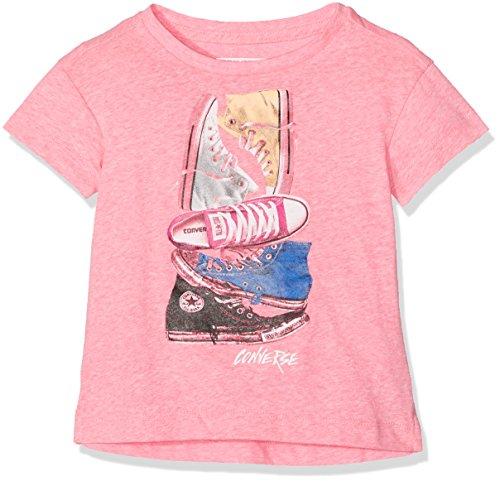 Converse Mädchen T-Shirt Stacked Chuck Ii Tee, (Neo Pink Snow Heather A4P), 10-11 (Hersteller Größe:10-12 Jahre)