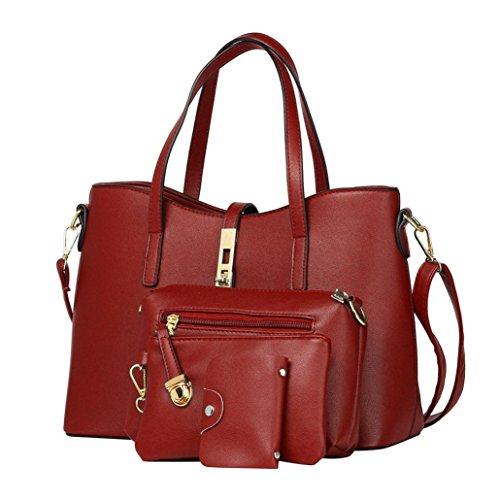 Longra Tinta unita pu pelle moda donna single spalla borsa borsa inclinato spalla borsa borsa porta carte quattro pezzi set Rosso