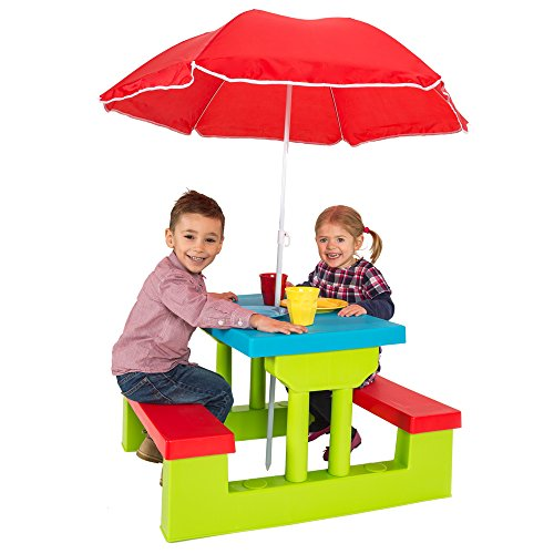 *TecTake Ensemble de jardin pour enfant 2 bancs parasol table d'activité Offre de prix