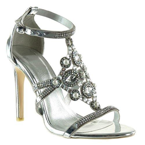 Angkorly - scarpe da moda scarpe decollete stiletto aperto da sera donna gioielli perla strass tacco stiletto tacco alto 10.5 cm - argento sk1107 t 41