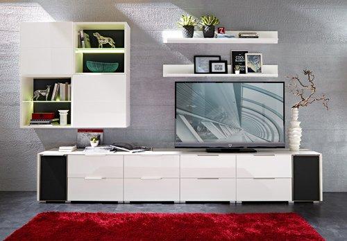 10-tlg Wohnwand in Hochglanz weiß/grau mit Akustik-Fächern und LED-Beleuchtung, Gesamtmaß B/H/T ca. 330/190/51 cm - 3