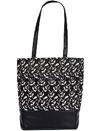Womaniya Women's Canvas and PU Multicolour Handbag ( L36 xW10x H36cm)