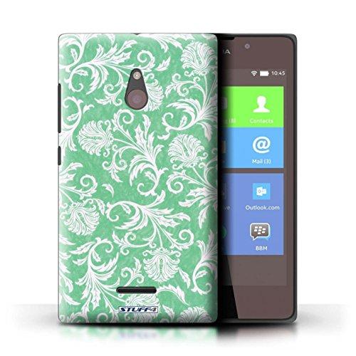 Kobalt® Imprimé Etui / Coque pour Nokia XL / Fleurs Bleues conception / Série Fleurs Fond Vert