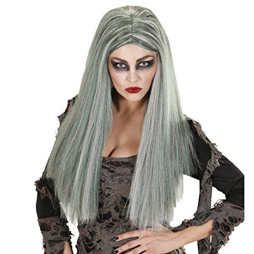 Frauen Nette Hexe Kostüm - NET TOYS Lange Zombie Damen Perücke Langhaarperücke Hexe grau Zombieperücke Damen Hexenperücke lang Halloweenperücke Frauen Kostüm Accessoire