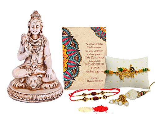 Collectible India Rakhi Gift Combo Set - Rakhi Gifts for Brother Bhabhi - Bholenath Shiva Statue Showpiece/Special Greeting Card/Lumba Rakhi/Krishna Rakhi/Om Rudraksh Rakhi