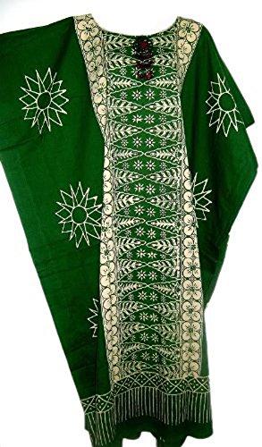 Cool Kaftans Damen Bluse Malaya Schwarz Violett Rot Feiner Batikdruck Baumwolle Strandkleid Übergröße Neu Grün