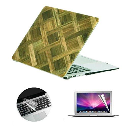 Se7enline MacBook-Gehäuse, matt, gefrosteter Kunststoff, Hartschalen-Abdeckung mit transparenter Silikon-Tastaturfolie und Displayschutzfolie Wood Grain Colorful Macbook Pro 13'' Retina (Model A1502/A - Wood Grain Cross