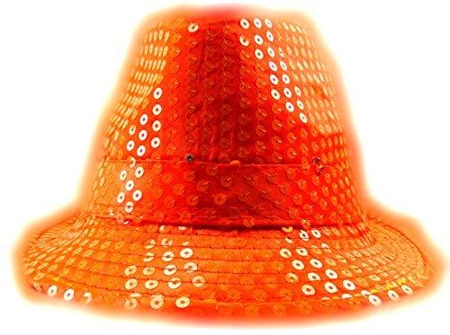 (LED Party Hut Pailletten Huete mit Lichtern Fasching Hüte (neon orange))