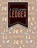 5 Column Ledger: Accounting Paper, Accounting Ledger Book, Bookkeeping Ledger Sheets, Cute Zoo Animals Cover, 8.5