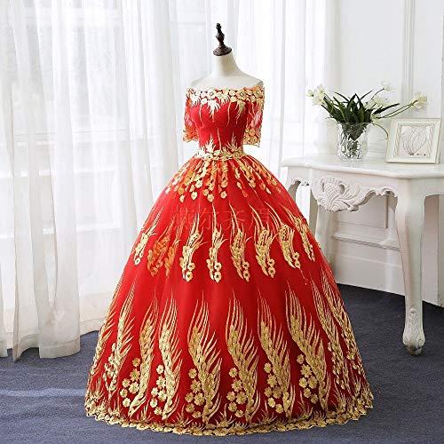 QAQBDBCKL Rot Mit Goldenen Stickerei Ballkleid Mittelalterliche Renaissance-Kleid Königin Kostüm Viktorianischen Kleid Marie Antoinette/Belle