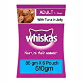 #8: Whiskas Wet Meal Adult Cat Food, Tuna in Jelly, 85 g Pouch (Pack of 6)