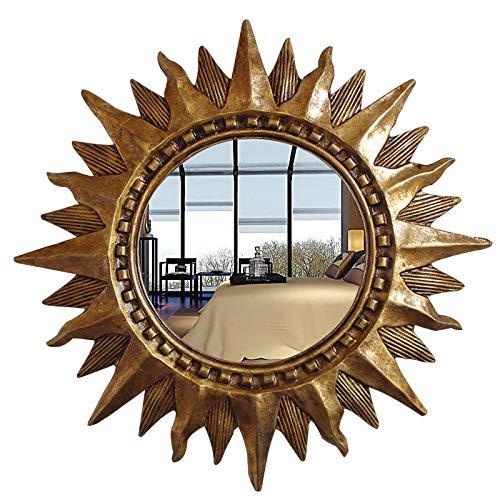 Zenggp Espejo De Pared Vintage Espejo Dorado Espejo Barroco Espejo De Baño Sol