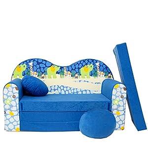 C16 S Kinder Sofa Couch Baby Schlafsofa Kinderzimmer Bett gemütlich verschidene Farben und Motiven (C16 blau Afrika)