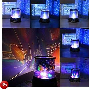 Lampada Stelle Luna,Lampada di Illuminazione Notturna LED cielo stellato Lampada Proiettore Stelle Luna luci bimbi notturne 3 Modalità di Luce Ideale per bambini,cameretta neonato,decorazioni