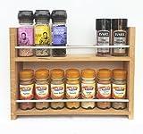 SilverAppleWood Eiche massiv Spice Rack–nimmt bis zu 14Gewürz- und Kräuter Gläser–Tiefe Kapazität für größere Gläser und Flaschen–2Ebenen/Regalen