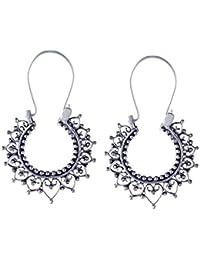 775d1cb72bd9 Silverly Frauen 925 Sterling Silber indischen Filigrane Rund Hoop Ethnische  Ohrringe