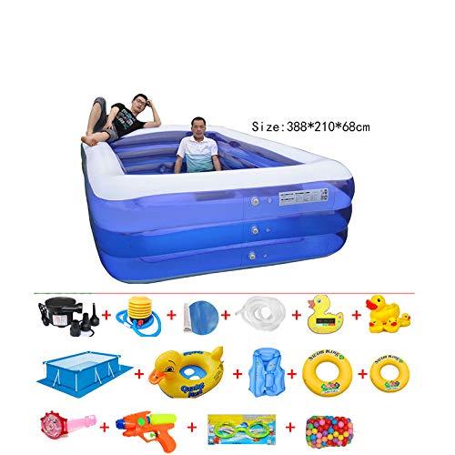 Aufblasbarer Pool Verdickte Badewanne Für Zu Hause Großes Planschbecken Für Erwachsene Dunkelblau D 388 * 210 * 68 cm (1-16) -