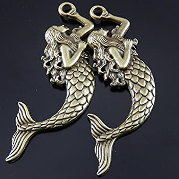 Juliewang 2pcs Antique Bronze Alloy Myth Fairy Tale Mermaid Charms Pendants Crafts 2