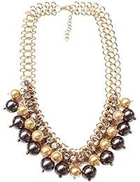 Segolike Vintage Gold Chain Multi Layered Pearl Choker Statement Bib Charms Necklace For Women Girls