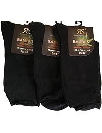 6 Paar Socken Bambus RS Softrand Schwarz Blau Grau Beige Braun (39-42, Schwarz)