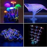 YUXIER Aquarium-Dekoration, leuchtender Pilz, Korallendekoration, für Aquarien, 4 Stück