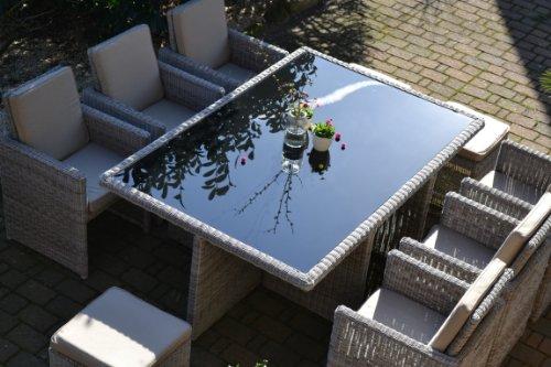 bomey Polyrattan Rattan Geflecht Garten Sitzgruppe Toscana XL in sand-grau Natur (Rundgeflecht 3mm) (Tisch 6 Sessel 3 Hocker) für 6 bis 9 Personen kaufen  Bild 1*