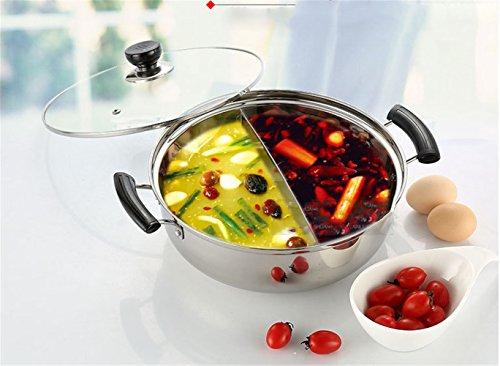Kochtöpfe Mandarine Ente Topf Küche Kasserolle Suppe Kochen Werkzeug 2 Raster 2 Geschmack 28cm Fondue Topf Edelstahl Hot Pot Selbsthilfe Mandarine Ente PotSoup Topf Praktischer Griff heissfest (32cm)