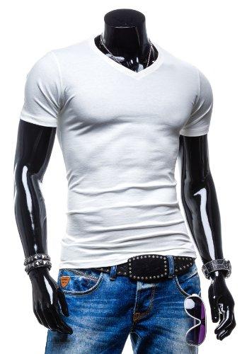 BOLF Herren T-Shirt V-Neck Sommer Party Basic Classic 3C3 Motiv Weiß