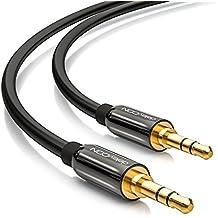 deleyCON 10m Jack Cable 3.5mm Cable AUX Cable de audio estéreo Jack Plug Recto para PC Portátil Teléfono Celular Smartphone Tablet Car HiFi Receptor - Negro