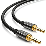 deleyCON 0,5m HQ Stereo Audio Klinken Kabel - 3,5mm Klinken Stecker zu 3,5mm Klinken Stecker - METALL - vergoldet