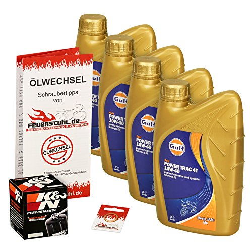 Gulf 10W-40 Öl + K&N Ölfilter für Suzuki GSF 1200 Bandit/S, 96-06, GV75A A9 CB - Ölwechselset inkl. Motoröl, Filter, Dichtring
