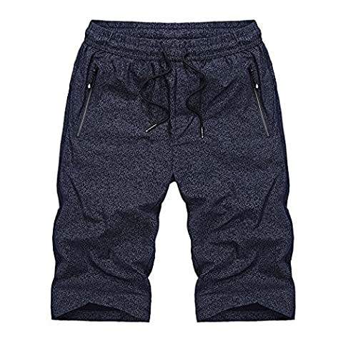 WALK-LEADER Mens Casual Trendy Summer Shorts Slim Fit Breathable Short Pants D/Blue UK Size 2XL