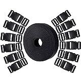 Hysagtek 12Set Kunststoff 2,5cm Double Side Release Schnallen Clips und 12PCS Tri-Glide Folien + 10Meter Nylon Gurtband für Heimwerker macht Koffergurt, PET Halsband, Rucksack Reparieren, schwarz