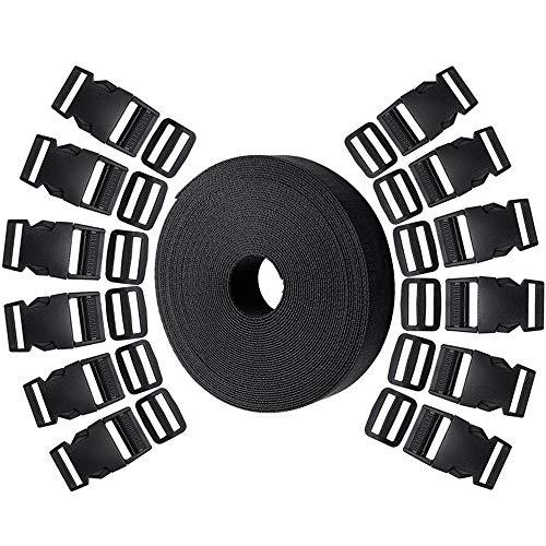 Hysagtek 12Set Kunststoff 2,5cm Double Side Release Schnallen Clips und 12PCS Tri-Glide Folien + 10Meter Nylon Gurtband für Heimwerker macht Koffergurt, PET Halsband, Rucksack Reparieren, schwarz -