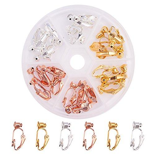 Pandahall Elite 30 Stück Messing Clip auf Ohrring Konverter Ohrring Komponenten für Nicht durchbohrte Ohren, 19x6x9mm, Loch: 1mm, Golden/Silber/Rose Golden