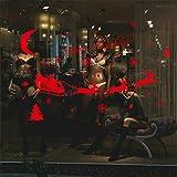 zzlfn3lv Howling Wolf bei Crescent Moon Vinyl Wandtattoo Home Decor Vinyl Aufkleber Rustikale Wohnkultur 68 * 58 cm