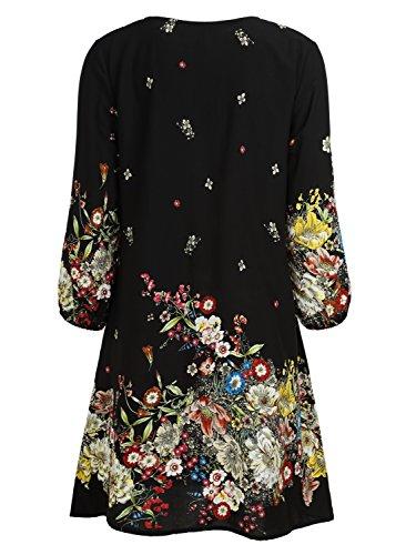 BAISHENGGT Damen Tunika Strandkleid Minikleid Vintage Bohemian Kleider Schwarz-Floral