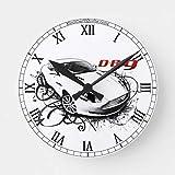 Mari57llis 15' Classic Wood Clock, Non Ticking Clock Db9 in Swirls Wooden Decorative Round Wall Clock