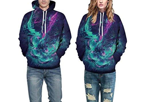 Sweatshirt Hoodies 3D Imprimer Cordon À Capuche À Manches Longues Décontracté Respirant Jumper Avec Grande Poche Pour Hommes Femmes Couples Starry Sky Blue