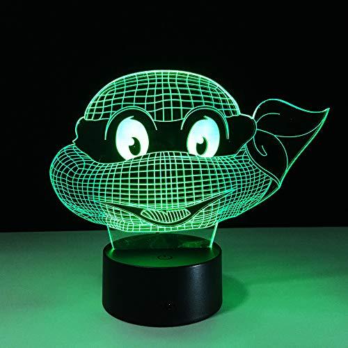 Veilleuse 3D Figure Teenage Mutant Ninja Tortues Atmosphère Lumière 3D Visual Lampe Nuit Lumière LED Chambre De Mariage Décoration Enfant Cadeau Lamparas