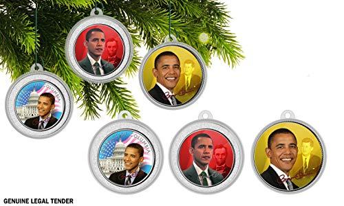 First Commemorative Mint Die Präsident Obama Authentische 5Medaille Weihnachtsbaum Ornament Collection -