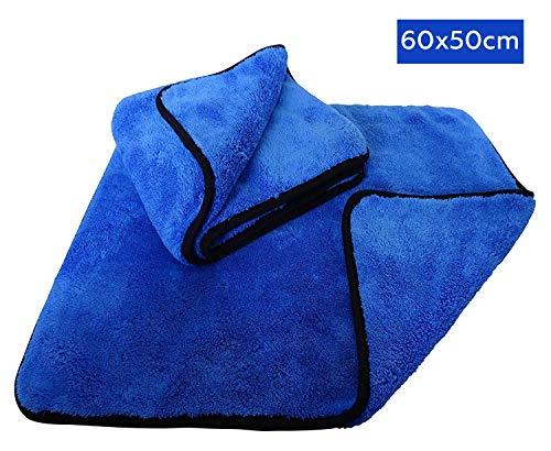 Preisvergleich Produktbild Mikrofasertücher 2X – 1200 GSM Trockentuch XL - Perfekt für Autopflege - Polieren - Trocknen - Waschen und Reinigen - Poliertuch für Auto - extrem saugstark und ultra-dicke - 2er Microfasertuch Set 60x50cm