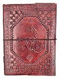 kooly zen - Carnet, bloc notes, journal, livre, Cuir Véritable, Vintage, double Triskel, 15cm X 20cm, papier premium