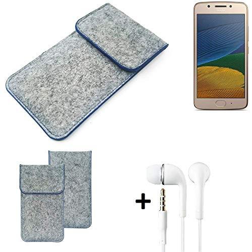 K-S-Trade® Filz Schutz Hülle Für -Lenovo Moto G5 Single-SIM- Schutzhülle Filztasche Pouch Tasche Handyhülle Filzhülle Hellgrau, Blauer Rand + Kopfhörer