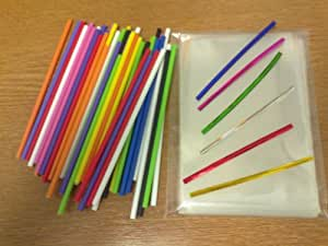 """50 x 150mm (6"""") Mixed Colour Plastic Cake Pop Lollipop Kit By Carlton Paper Sticks Included Cello Bags & Mixed Colour Twist Ties"""