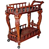 Aarsun Woods Hand-Carved Wooden Service/ Bar Trolley