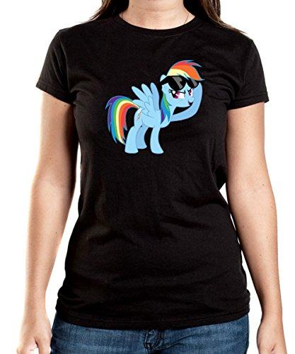 Certified Freak Rainbow Pony T-Shirt Girls Black S
