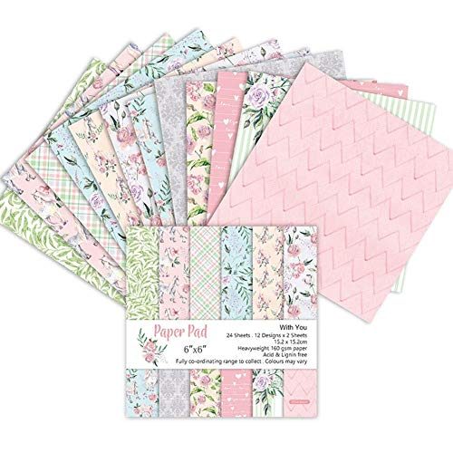 Hübffinity Scrapbook-Papierblock, 24 Stück, Blumenmuster, Exquisite Kartonpapier, Vintage gestanztes Papier, DIY, dekoratives Papier, Bastelarbeiten (15,2 cm) -