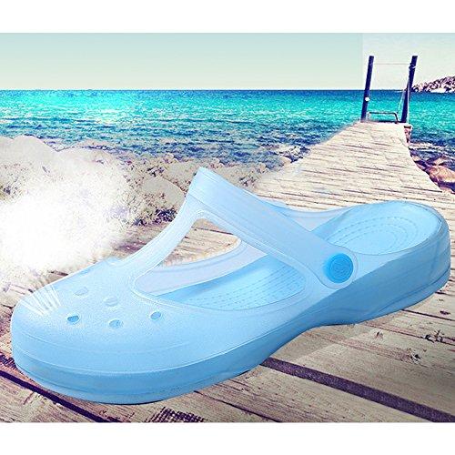 Eastlion Weibliche Sommer Sandalen Verfärbungs Sandalen Dicke Untere Hole Schuhe S2 Blau