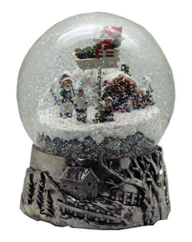 20059 Schneekugel groß Winterlandschaft Hüttenzauber - Weihnacht Santa rotiert Spieluhr 20cm silber Sockel